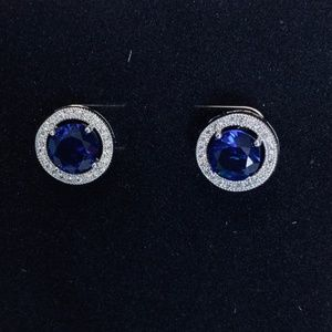 White Gold Plated Blue CZ Earrings
